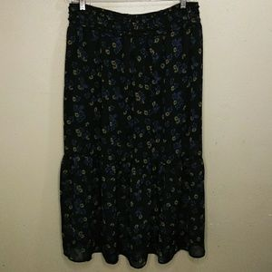 Brown Floral Print Flounced Skirt L NWOT